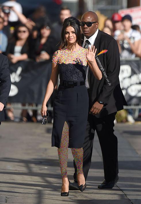 مدل لباس,مدل لباس سلنا گومز,سلنا گومز,مدل لباس به سبک سلنا گومز Selena Gomez - پیراهن دکلته کوتاه مشکی