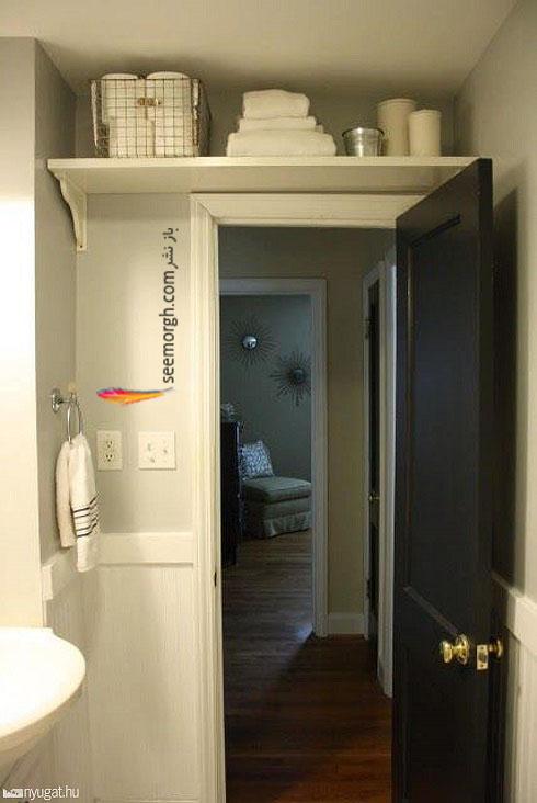 حمام,دکوراسیون حمام,دکوراسیون حمام کوچک,چیدمان در حمام کوچک,فضای مخفی بالای درب حمام