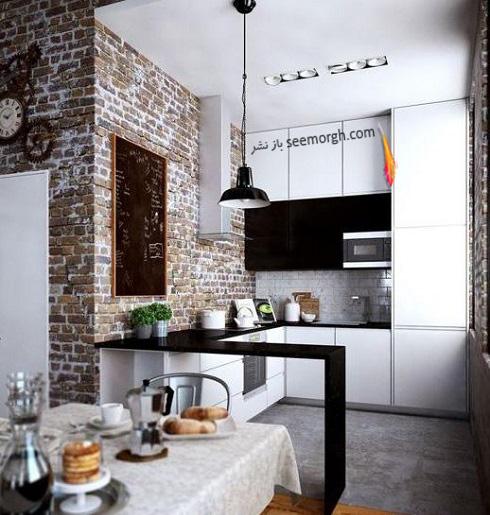 دکوراسیون آشپزخانه,جدیدترین دکوراسیون آشپزخانه,کابینت آشپزخانه,کابینت سیاه سفید,مدل کابینت آشپزخانه,آشپزخانه کوچک