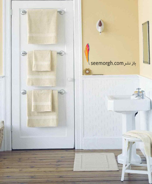حمام,دکوراسیون حمام,دکوراسیون حمام کوچک,چیدمان د رحمام کوچک,نصب میله روی درب حمام