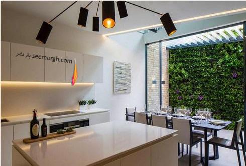 دکوراسیون آشپزخانه,جدیدترین دکوراسیون آشپزخانه,کابینت آشپزخانه,کابینت سیاه سفید,مدل کابینت آشپزخانه,آشپزخانه کوچک,نورپردازی آشپزخانه