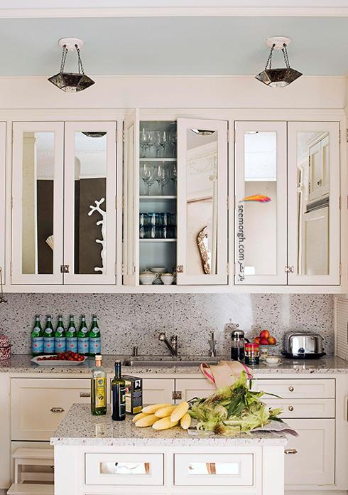 اضافه کردن آینه در آشپزخانه های کوچک,دکوراسیون آشپزخانه کوچک,آشپزخانه کوچک,چیدن دکوراسیون آشپزخانه کوچک