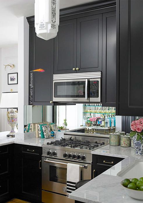 در آشپزخانه های کوچک، کابینت های بالایی را فراموش نکنید,دکوراسیون آشپزخانه,دکوراسیون آشپزخانه کوچک,چیدن دکوراسیون آشپزخانه های کوچک