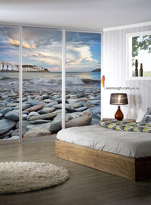 کاغذ دیواری,کاغذ دیوای سه بعدی,کاغذ دیواری سه بعدی برای اتاق خواب,کاغذ دیواری سه بعدی برای اتاق خواب با طرح دریا و سنگ