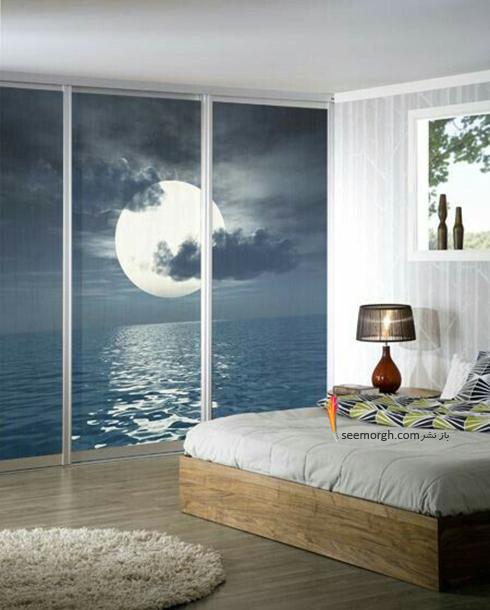کاغذ دیواری,کاغذ دیواری سه بعدی,کاغذ دیواری برای اتاق خواب,کاغذ دیواری سه بعدی برای اتاق خواب,کاغذ دیواری سه بعدی برای اتاق خواب با طرح دریا و مهتاب