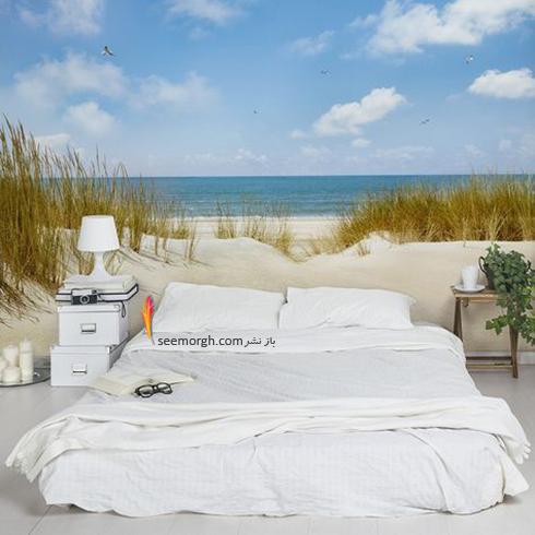 کاغذ دیواری,کاغذ دیواری برای اتاق خواب,کاغذ دیواری سه بعدی,کاغذ دیواری سه بعدی برای اتاق خواب,کاغذ دیواری سه بعدی برای اتاق خواب با طرح دریا و گیاه