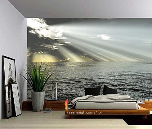 کاغذ دیواری,کاغذ دیواری برای اتاق خواب,کاغذ دیواریسه بعدی,کاغذ دیواری سه بعدی برای اتاق خواب,کاغذ دیواری سه بعدی برای اتاق خواب با طرح دریا و ابر