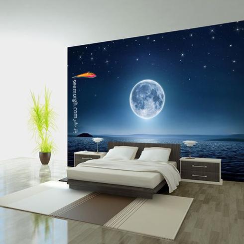 کاغذ دیواری,کاغذ دیواری اتاق خواب,کاغذ دیواری سه بعدی,کاغذ دیواری سه بعدی برای اتاق خواب,کاغذ دیواری سه بعدی برای اتاق خواب با طرح مهتاب و ستاره