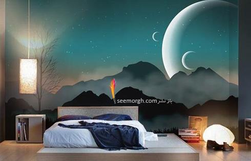 کاغذ دیواری,کاغذ دیواری اتاق خواب,کاغذ دیواری سه بعدی,کاغذ دیواری سه بعدی برای اتاق خواب,کاغذ دیواری سه بعدی برای اتاق خواب با طرح شب آرامش بخش