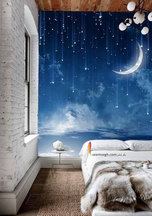 کاغذ دیواری,کاغذ دیواری اتاق خواب,کاغذ دیواری سه بعدی,کاغذ دیواری سه بعدی برای اتاق خواب,کاغذ دیواری سه بعدی برای اتاق خواب با طرح شب پرستاره