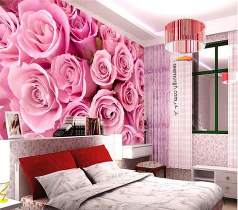 کاغذ دیواری,کاغذ دیواری برای اتاقخواب,کاغذ دیواری سه بعدی, کاغذ دیواری سه بعدی برای اتاق خواب,کاغذ دیواری سه بعدی برای اتاق خواب با طرح گل رز