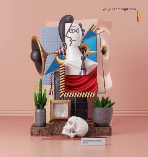 , سه بعدی, نقاشی monument spaniardsپیکاسو,عمر عقیل,