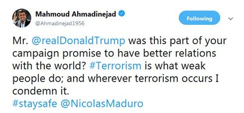 پیام انگلیسی احمدینژاد خطاب به «ترامپ»+تصویر
