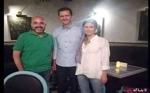 پوشش خاص همسر بشار اسد در یک رستوران+تصویر