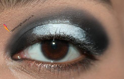 اضافه کردن مجدد سایه سفید اکلیل دار برای آرایش چشم اسموکی,آرایش چشم,آموزش آرایش چشم,آرایش چشم دودی,آموزش آرایش چشم دودی,آرایش چشم اسموکی,آموزش آرایش چشم اسموکی