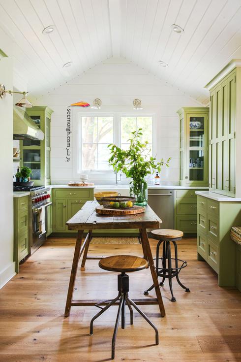 دکوراسیون آشپزخانه با رنگ سبز,دکوراسیون آشپزخانه,جدیدترین دکوراسیون آشپزخانه,دکوراسیون رنگی آشپزخانه,رنگ برای دکوراسیون آشپزخانه,