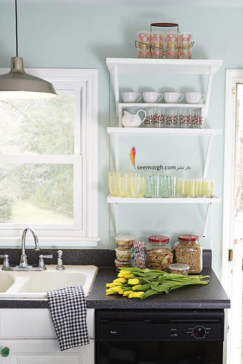 دکوراسیون آشپزخانه با رنگ سبز نعنانی روشن,دکوراسیون آشپزخانه,جدیدترین دکوراسیون آشپزخانه,دکوراسیون رنگی آشپزخانه,رنگ برای دکوراسیون آشپزخانه,