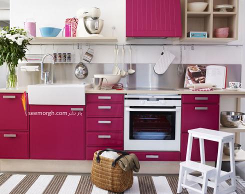 دکوراسیون آشپزخانه با رنگ سرخابی ,دکوراسیون آشپزخانه,جدیدترین دکوراسیون آشپزخانه,دکوراسیون رنگی آشپزخانه,رنگ برای دکوراسیون آشپزخانه,