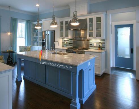 دکوراسیون آشپزخانه با رنگ آبی روشن,دکوراسیون آشپزخانه,جدیدترین دکوراسیون آشپزخانه,دکوراسیون رنگی آشپزخانه,رنگ برای دکوراسیون آشپزخانه,