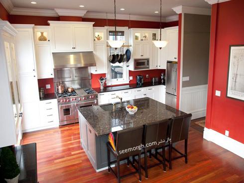 دکوراسیون آشپزخانه با رنگ قرمز پر رنگ,دکوراسیون آشپزخانه,جدیدترین دکوراسیون آشپزخانه,دکوراسیون رنگی آشپزخانه,رنگ برای دکوراسیون آشپزخانه,