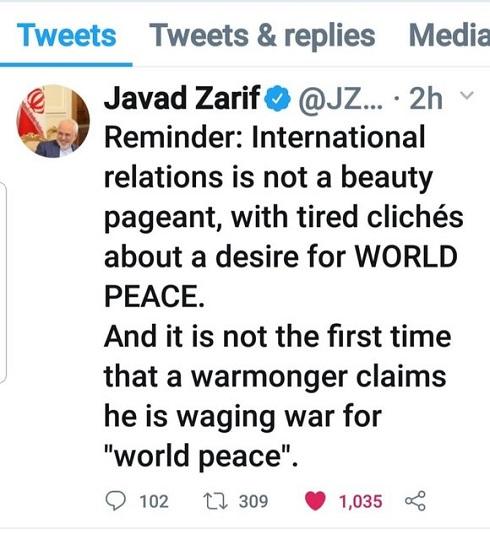 کنایه ظریف به آمریکا: روابط بینالملل، مسابقه ملکه زیبایی نیست