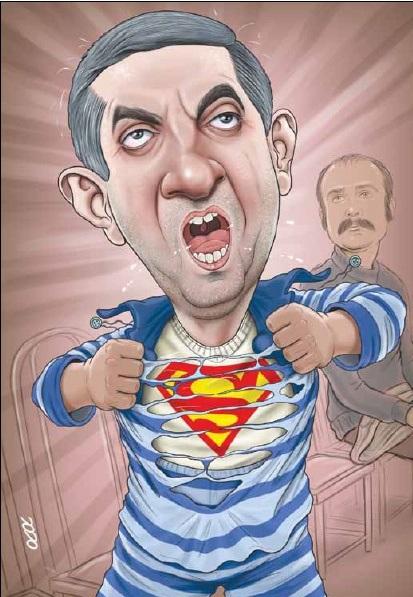مشایی در حال پارهکردن پیراهنش!