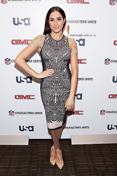 مگان مارکل,مدل لباس های مگان مارکل,بهترین مدل لباس های مگان مارکل,مدل لباس های برتر مگان مارکل Meghan Markle قبل از ازدواج با پرنس هری Prince Harry - پیراهن طرح دار حلقه ای