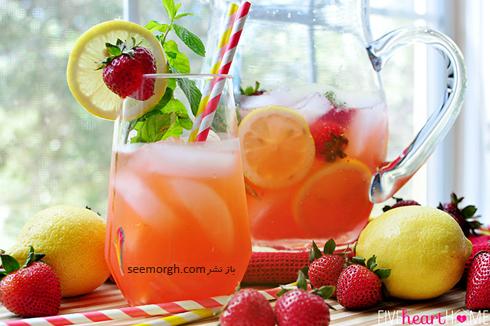 طرز تهیه شربت نعنا، توت فرنگی و لیمو,شربت,طرز تیهه شربت خانگی,شربت توت فرنگی