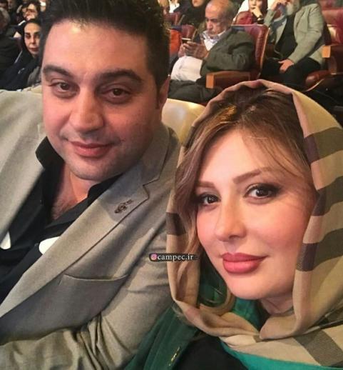 سلفی نیوشا ضیغمی و همسرش در جشن حافظ