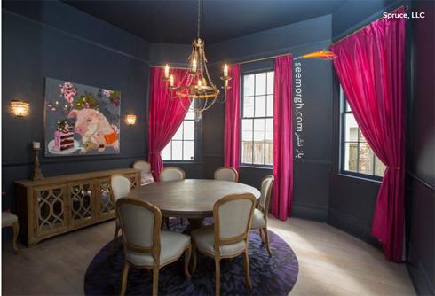 ترکیب رنگی صورتی و آبی در دکوراسیون اتاق ناهارخوری,ترکیب رنگی در دکوراسیون داخلی,ترکیب رنگی صورتی در دکوراسیون داخلی,بهترین ترکیب رنگی صورتی در دکوراسیون داخلی