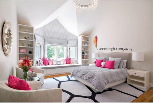 ترکیب رنگ صورتی کم رنگ و طوسی روشن در دکوراسیون اتاق خواب,ترکیب رنگی در دکوراسیون داخلی,ترکیب رنگی صورتی در دکوراسیون داخلی,بهترین ترکیب رنگی صورتی در دکوراسیون داخلی
