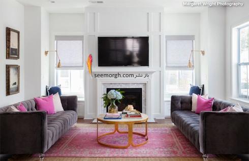 ترکیب رنگ صورتی و طوسی در دکوراسیون اتاق نشیمن,ترکیب رنگی در دکوراسیون داخلی,ترکیب رنگی صورتی در دکوراسیون داخلی,بهترین ترکیب رنگی صورتی در دکوراسیون داخلی