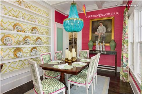 ترکیب صورتی با فیروزه ای در دکوراسیون اتاق ناهارخوری,ترکیب رنگی در دکوراسیون داخلی,ترکیب رنگی صورتی در دکوراسیون داخلی,بهترین ترکیب رنگی صورتی در دکوراسیون داخلی