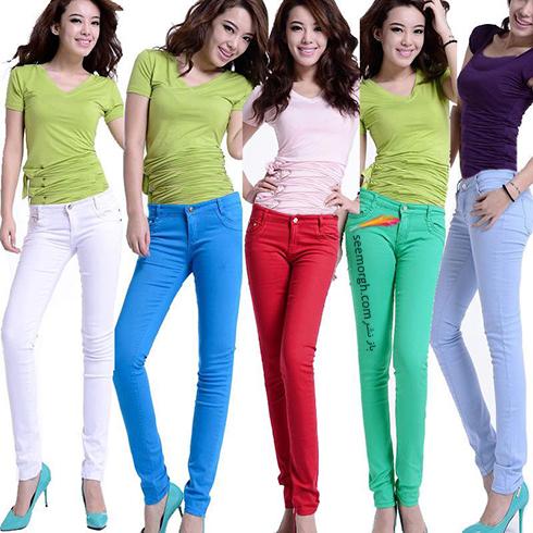 شلوار جین,ست کردن شلوار جین,شلوار جین رنگی,شلوار جین های رنگی را فراموش نکنید