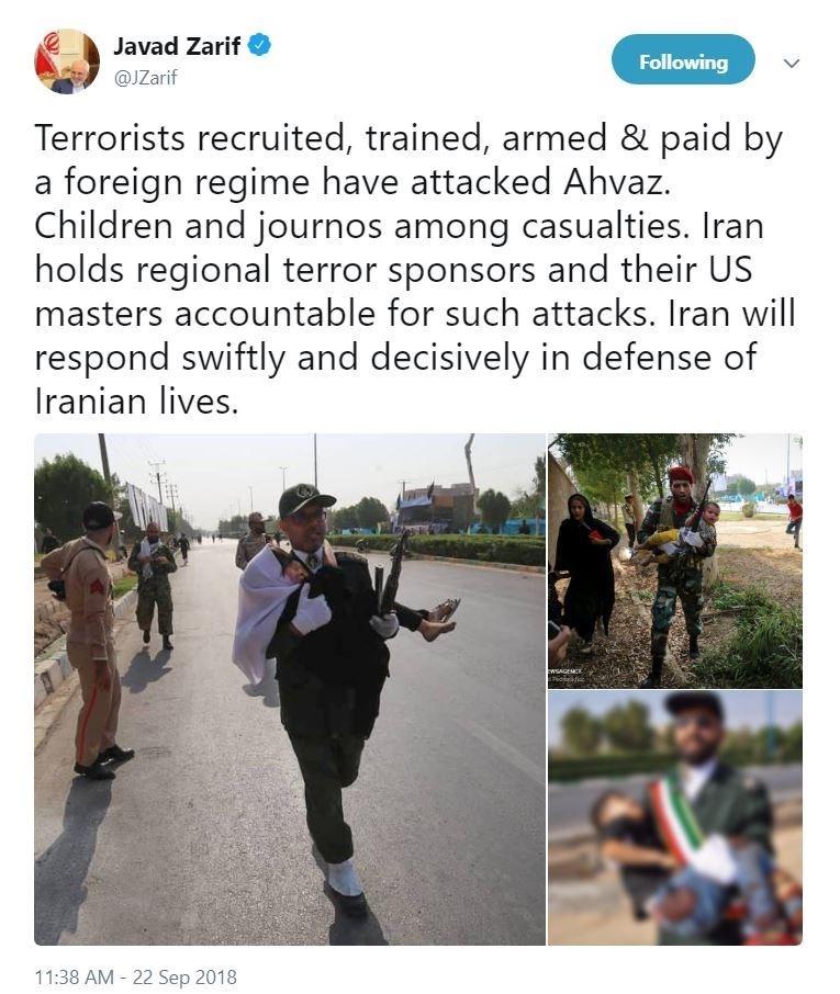 واکنش ظریف به حمله تروریستی در اهواز