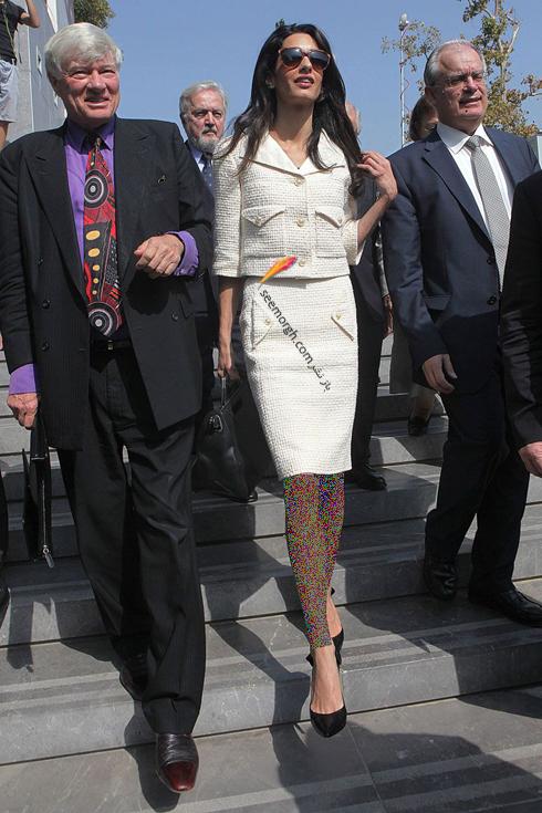 کت و دامن,ست کردن کت و دامن,امل کلونی,ست کردن کت و دامن به سبک امل کلونی,ست کردن کت و دامن به سبک امل کلونی Amal Clooney -کت و دامن پاییزه سفید