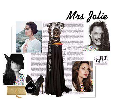 ست کردن لباس شب,لباس شب,ست کردن لباس شب به سبک آنجلینا جولی,ست کردن لباس شب مشکی به سبک آنجلینا جولی Anjelina Jolie