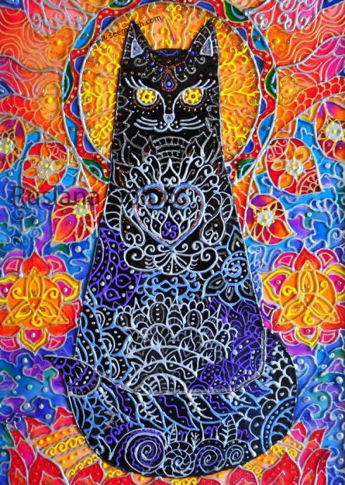 Ruslana Golub,ویترای,نقاشی روی شیشه,گربه