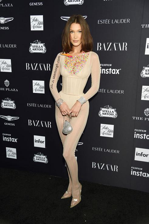 مدل لباس,مدل لباس در میهمانی مجله مد هارپر بازار,میهمانی مجله هارپربازار,مدل لباس در میهمانی مجله مد هارپربازار Harpersbazaar - بلا حدید Bella Hadid