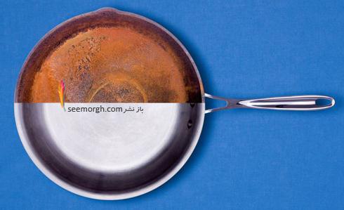 لکه سوختگی,تمیز کردن لکه سوختگی,شستن لکه سوختگی از روی ظروف استیل,شستن تابه های استیل,پاک کردن لکه سوختگی از تابه های استیل