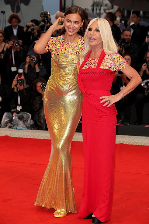 ایرینا شایک Irina Shayk و دوناتلا ورساچه Donatella Versace در جشنواره فیلم ونیز 2018 Venice Film Festival,جشنواره فیلم وینز,جشنواره ونیز,مدل لباس,مدل لباس در جشنواره ونیز,مدل لباس در جشنواره فیلم ونیز