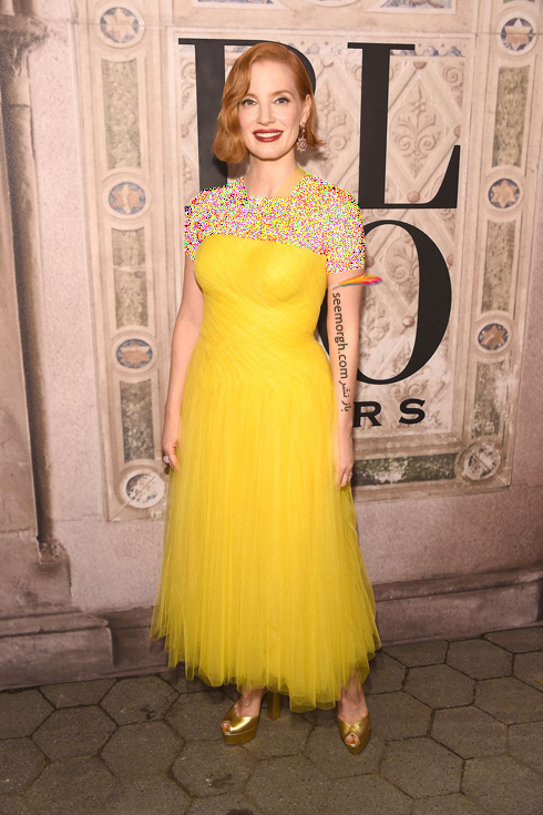مدل لباس,مدل لباس در مراسم 50 سالگی برند رالف لورن,برند رالف لورن,جشن 50 سالگی برند رالف لورن,مدل لباس جسیکا چستین Jessica Chastain در مراسم 50 سالگی برند رالف لورن Ralph Lauren