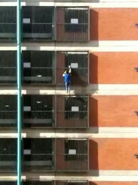 بالا رفتن از ساختمان بدون هیچ وسیله ای برای حفظ ایمنی و جان دختر عنکبوتی