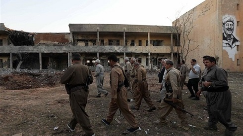 مقر منهدم شده مقر تروریست های کردستان پس از اصابت موشک های سپاه+تصاویر