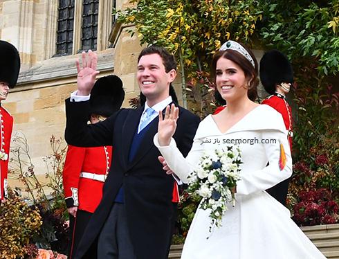 مراسم عروسی,مراسم عروسی نوه ملکه انگلیس,عکس هایی از مراسم عروسی نوه ملکه انگلیس,پرنسس اوژنی Eugenie و جک بروکسبنک Jack Brooksbank در حال خوش آمدگویی به میهمانان