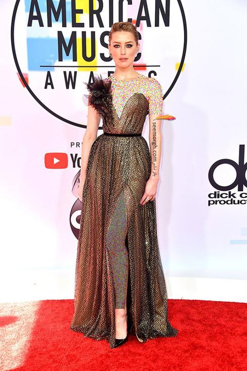 مدل لباس,بهترین مدل لباس,مدل لباس در جوایز موسیقی آمریکا,مدل لباس های برتر در American music awards 2018 - آمبر هرد Amber Heard