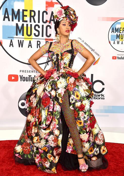 مدل لباس,بدترین مدل لباس,بدترین مدل لباس در جوایز موسیقی آمریکا,بدترین مدل لباس در American music awards 2018 - کاردی بی Cardi B