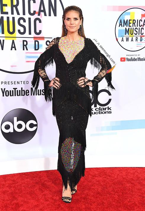 مدل لباس,بدترین مدل لباس,بدترین مدل لباس در جوایز موسیقی آمریکا,بدترین مدل لباس در American music awards 2018 - هایدی کلوم Heidi Klum