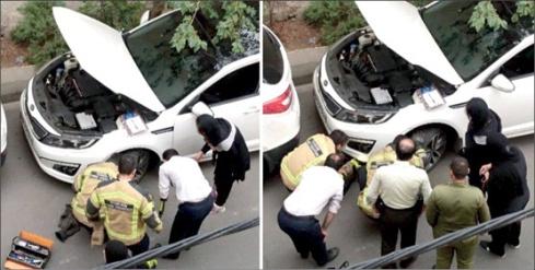 تلاش برای نجات گربه گرفتار در چرخ اتومبیل