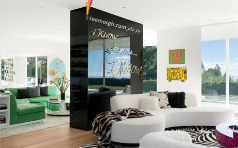 دکوراسیون داخلی,دکوراسیون داخلی خانه التون جان,التون جان,دکوراسیون داخلی ویلای التون جان Elton Jhon در بورلی هیلز - اتاق خواب با دکوراسیون سفید و سبز